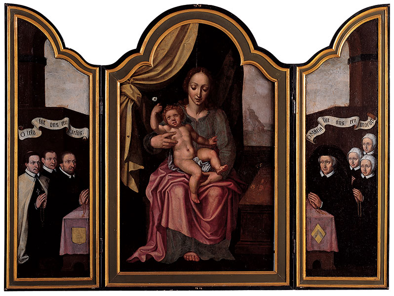 Drieluik met Maria met kind en schenkers